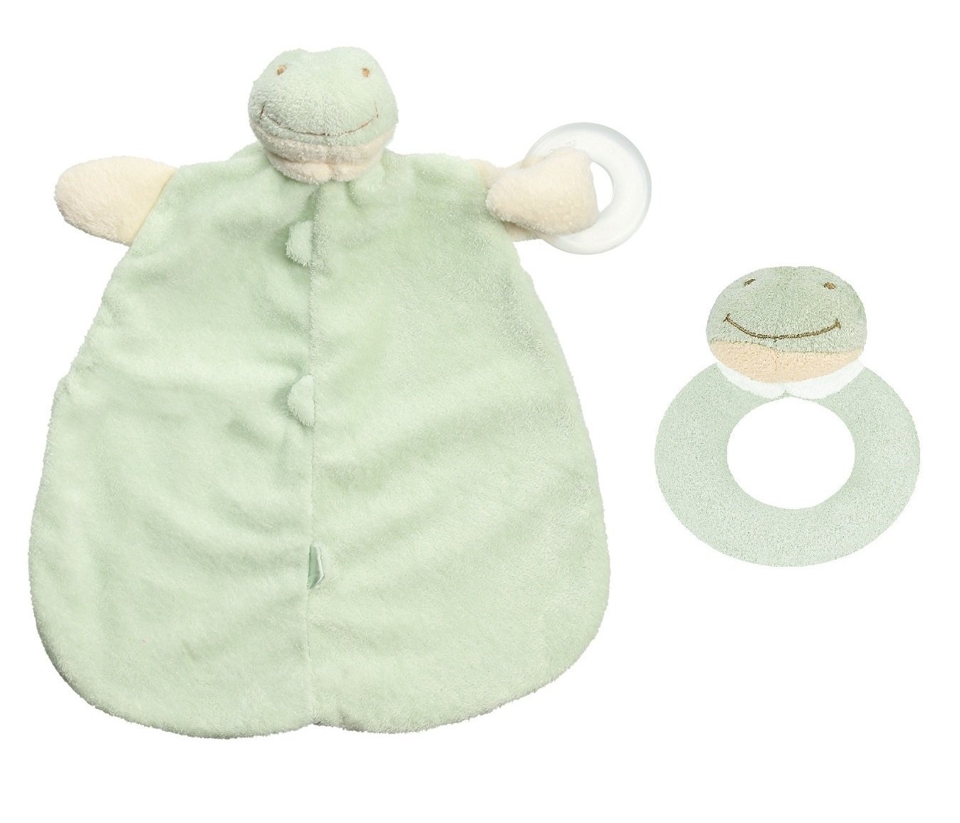Angel Dear Froggy Baby Teether Blanket and Ring Rattleギフトセット。   B01AUEAPI2