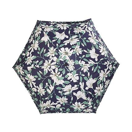 Kentop Mujer Funda Paraguas Flores Protección Solar Sol Paraguas Mini Funda Pantalla con Pantalla de Bolsa