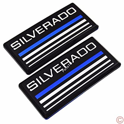 2x PartsTo Blue Line Cab Emblem Badge Side Roof Pillar Decal Plate for Chevy Silverado 88-98 90 91 Suburban Tahoe C/K Series Blazer: Automotive