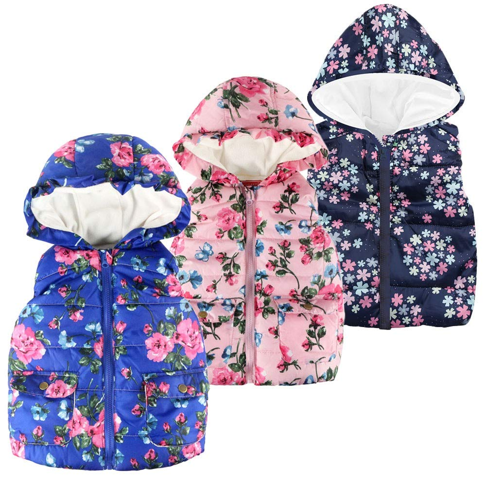 Anxinke Kids Boys Girls Winter Warm Floral Printed Sleeveless Down Jackets
