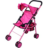 Precious Toys 0126A Hot Pink Doll Stroller with Black Handles & Hot Pink Frame