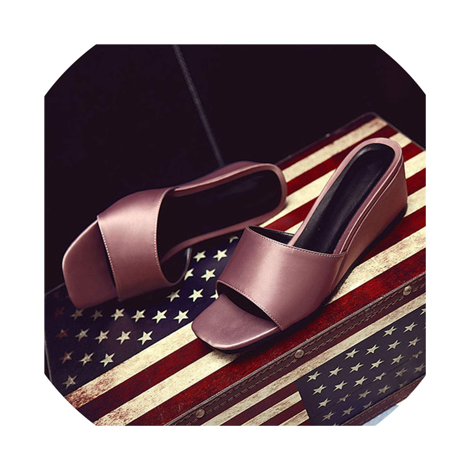2 goldsmyth Black Low Slippers Summer Ladies New Leather Wedge Heel Outside Slides Flat Sandals