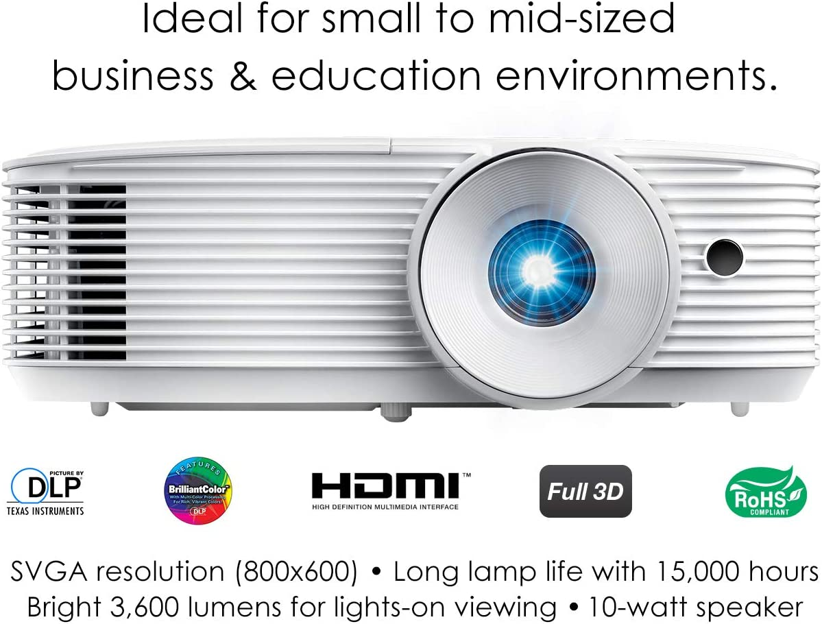 Optoma S343 SVGA DLP Professional Projector | Bright 3600 Lumens | Business Presentations, Classrooms, or Home | 15,000 Hour lamp Life | Speaker Built ...