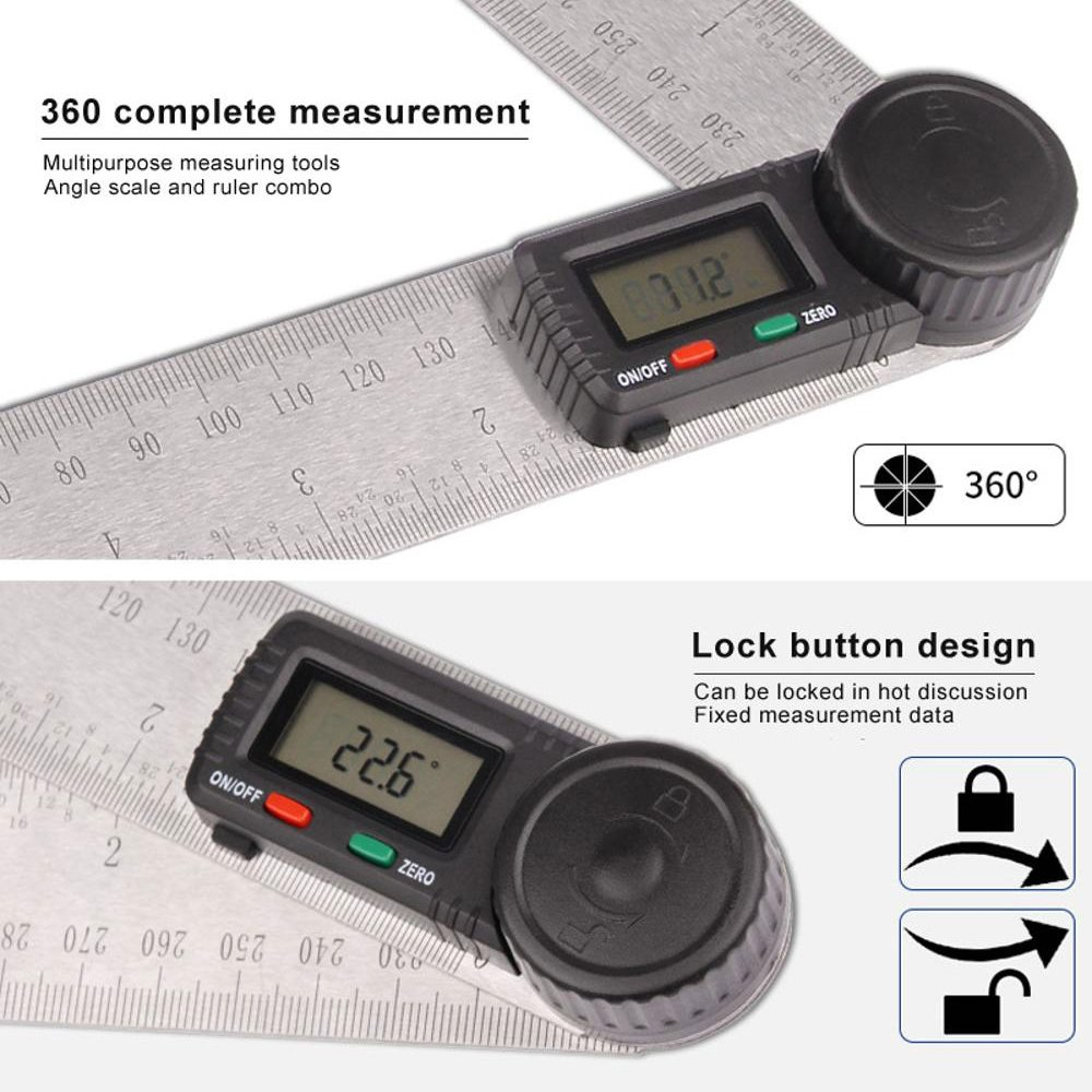 Prostormer Digital Angle Finder with Locking and Zeroing Function, 360 Degree Protractor 7 inch Stainless Steel Ruler for Woodworking, Construction and Drawing by Prostormer (Image #3)