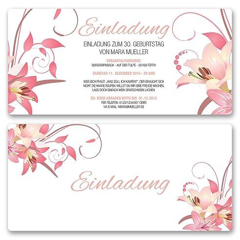 Einladungskarten Geburtstag (20 Stück) Blumen Geburtstagseinladungen Karte  Einladungen Gestalten   Inkl. Druck Ihrer
