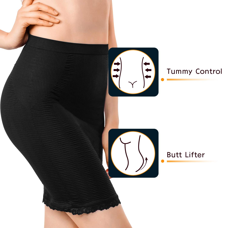 +MD Womens Shapewear Slip High Waisted Butt Lifter Firm Tummy Control Half Slip Body Shaper
