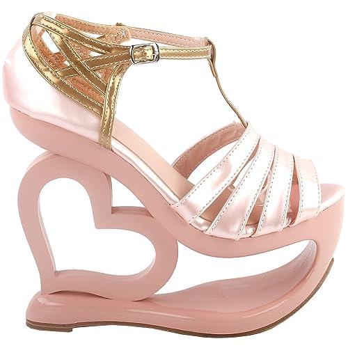 informazioni per buon servizio shopping Amazon.com | SHOW STORY Elegant Baby Pink T-Strap Heart Heel ...