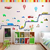 Transport and Vehicle Wall Stickers for a Nursery. (Heat Activated Peel & Re-Stick) with a Huge Number of Cars, Vans and Trucks! (Large Size, 2 Rolls) …