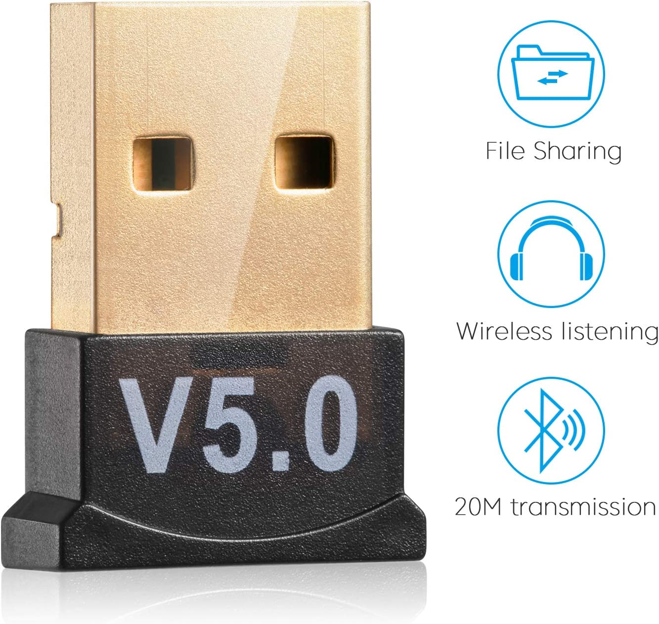 USB Bluetooth 5.0 Adapter for PC Win10/8.1/8/7/XP/Vista, Desktop Computer Bluetooth Dongle Receiver/Transmitter for Laptop Support to Connect Headset, Mouse, Keyboard, Printer, Speaker