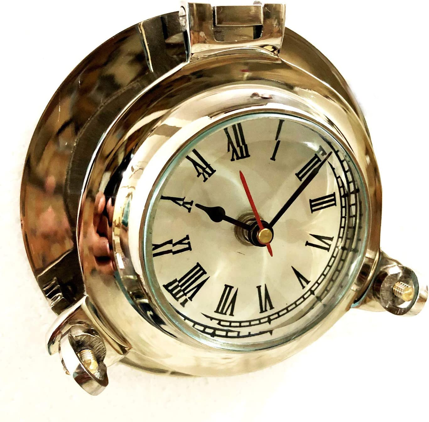 Reloj de pared náutico de 6 cm para colgar en la pared, diseño de ojo de buque, color plateado