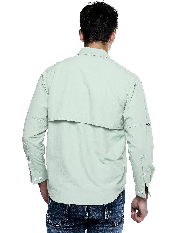 OCHENTA Mens Long Sleeve Hiking Camping Fishing Shirt Lightweight Quick Dry Sun Protection Tops