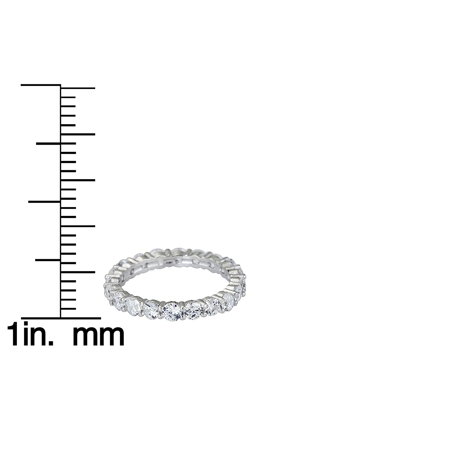 Decadence Sterling Silver 3mm Round Prong Set Eternity Ring
