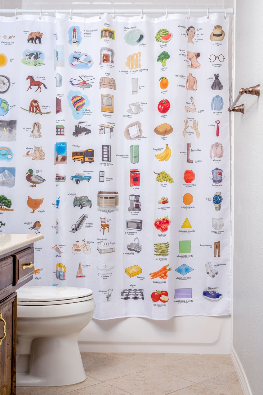 Kids Educational Shower Curtain Spanish/English Vocabulary