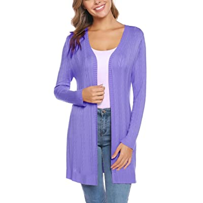 iClosam Women's Open Front Cardigan Long Sleeve Lightweight Knit Cardigan Sweater at Women's Clothing store