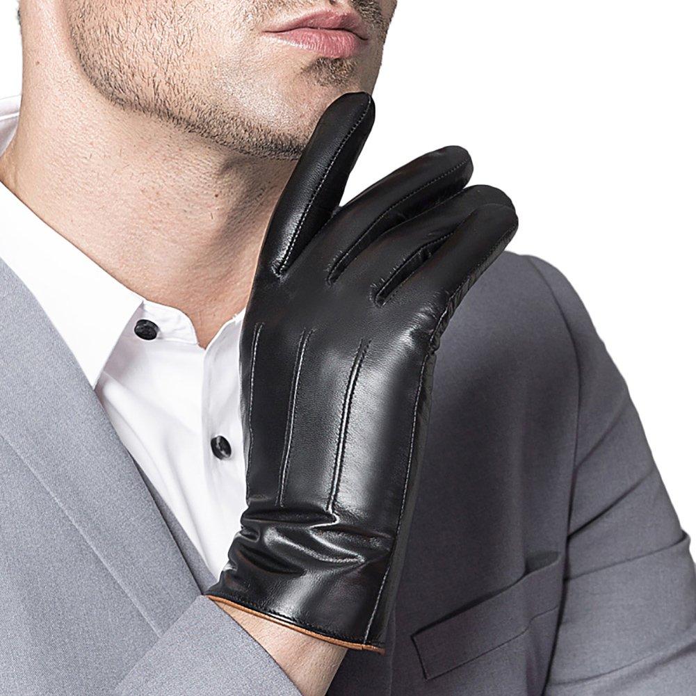 Liveinu Men's Genuine Leather Touchscreen Texting Gloves Winter Driving Warm Lining Gloves Black
