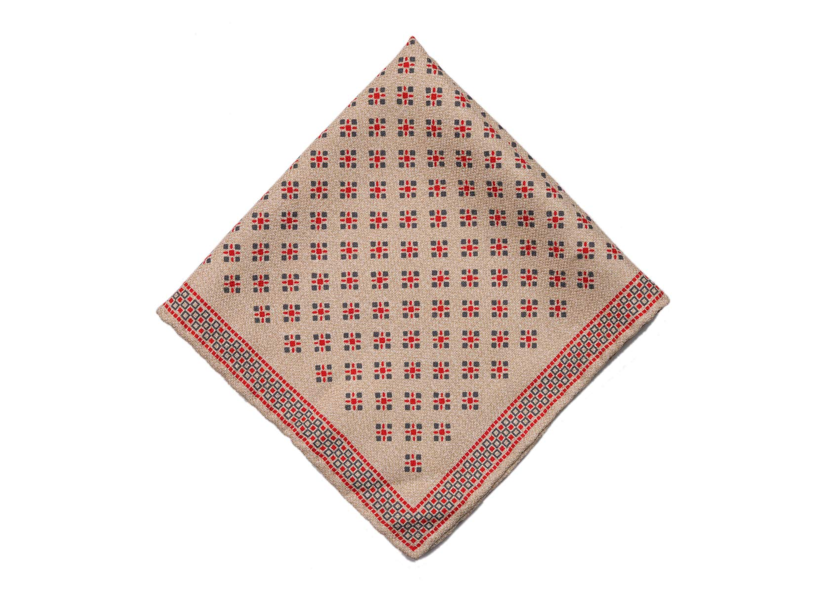Brunello Cucinelli Mens Brown Geometric Dotted Pocket Square One Size~Retail$225
