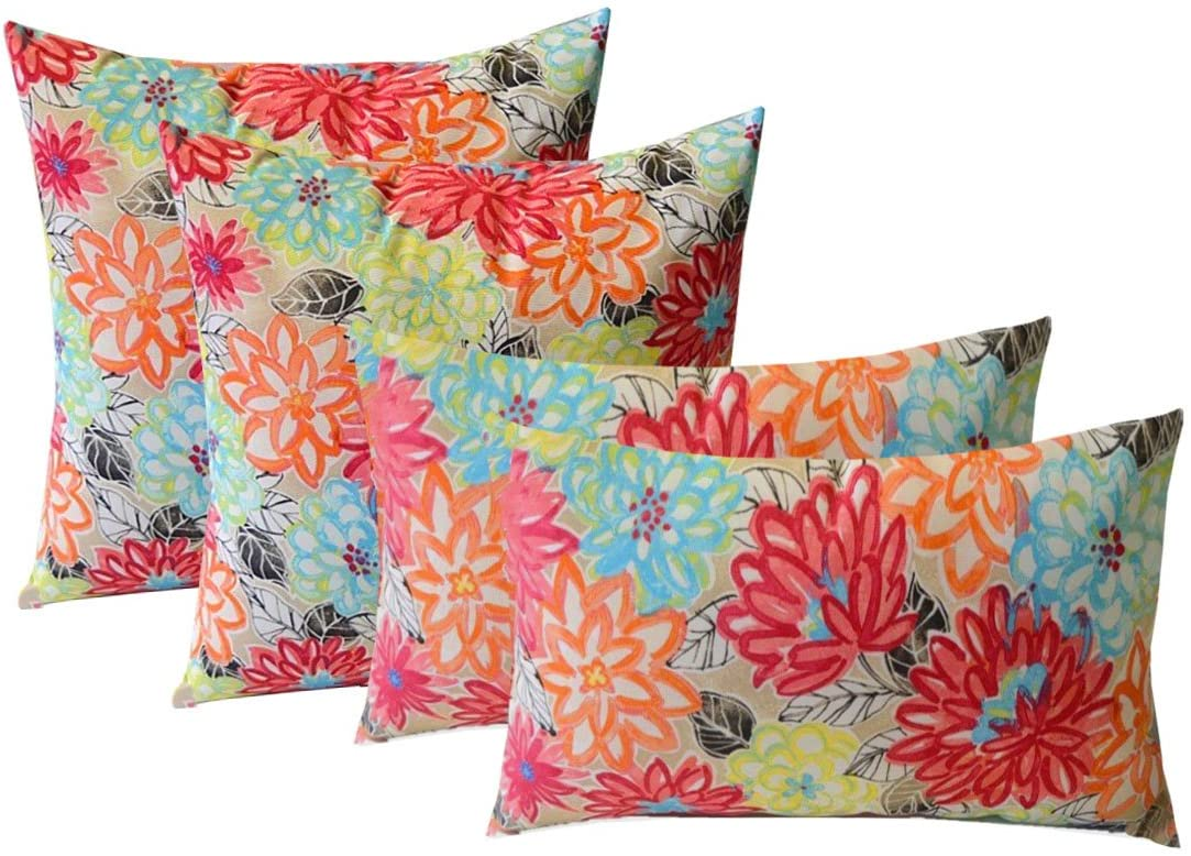 Indoor Outdoor Set of 4 2-17 x17 Square and 20 x12 Lumbar Decorative Toss Throw Pillows – Yellow, Orange, Blue, Pink Bright Artistic Floral