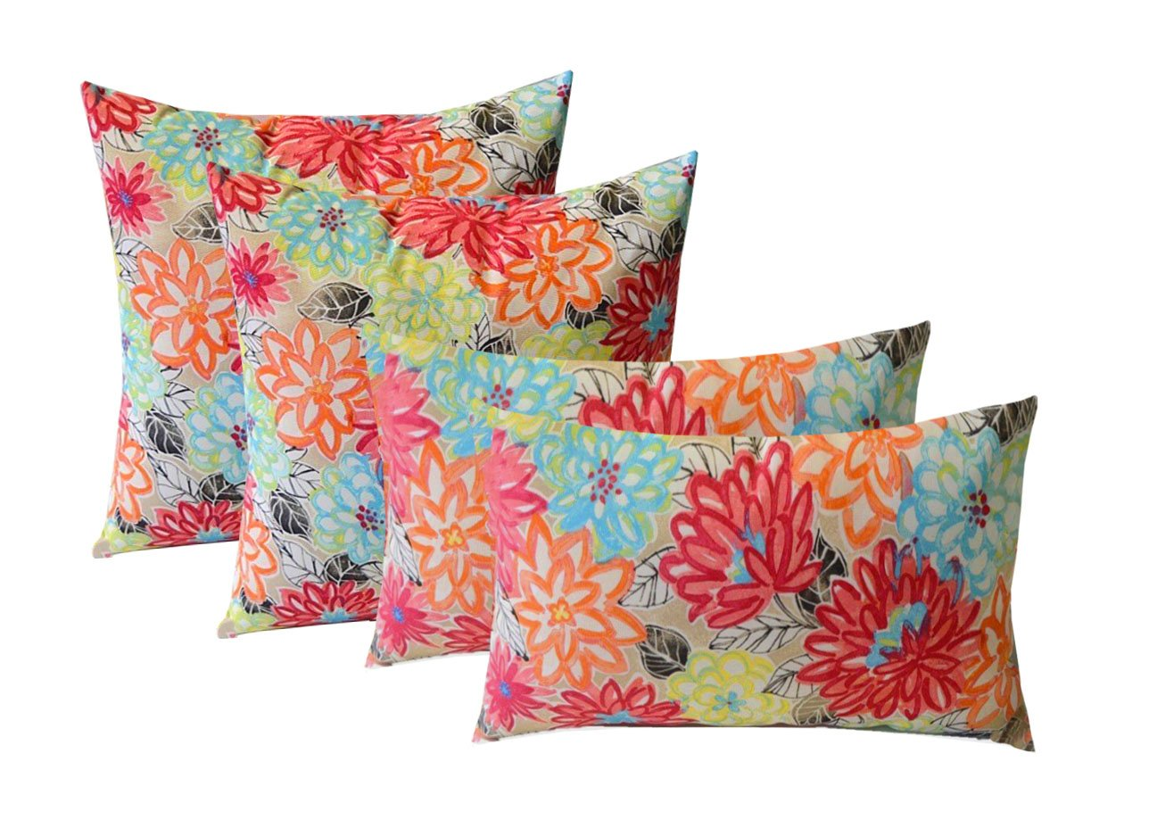 Set of 4 Indoor / Outdoor Pillows - 17'' Square Throw Pillows & 12'' x 20'' Rectangle / Lumbar Decorative Throw Pillows - Yellow, Orange, Blue, Pink Bright Artistic Floral by Resort Spa Home