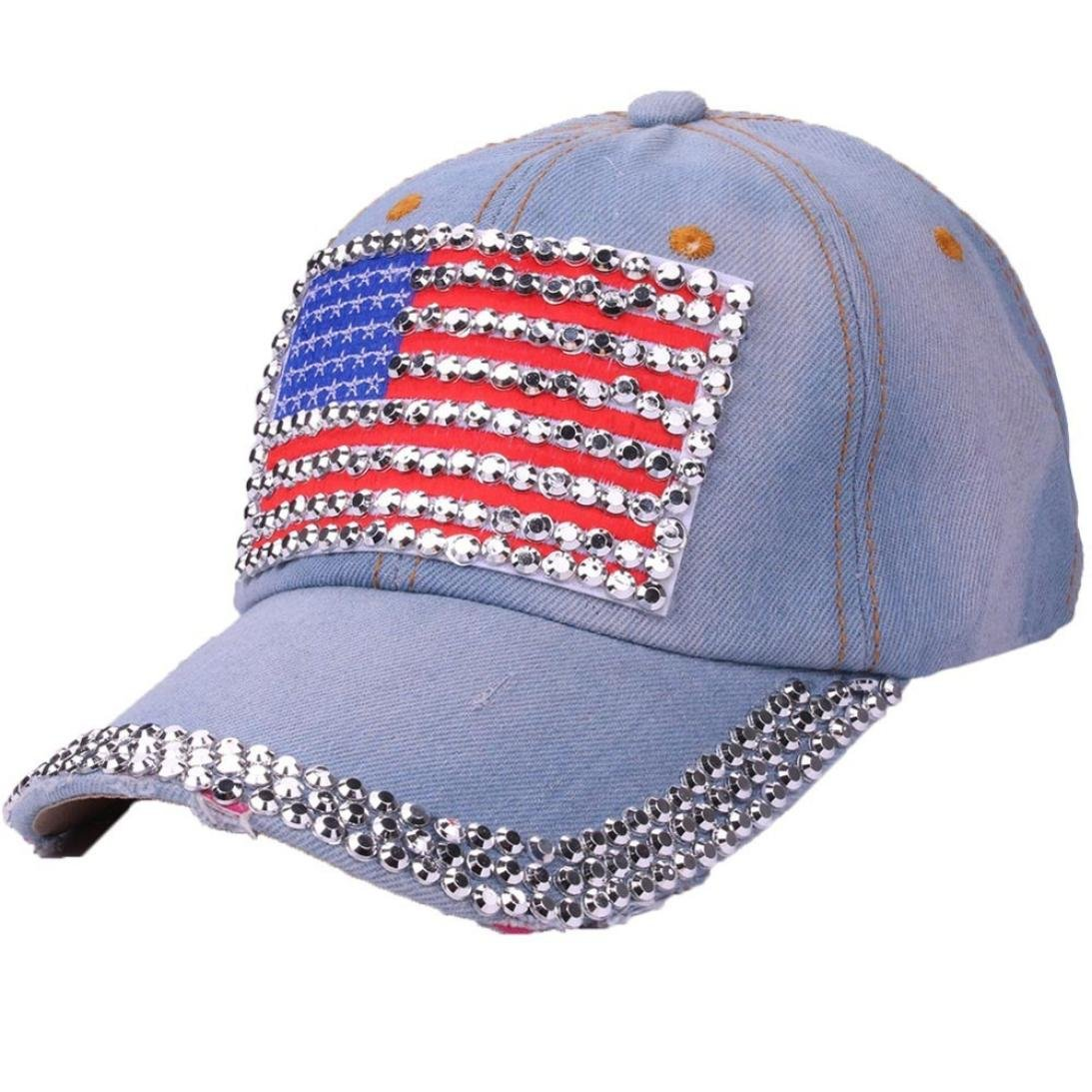 Amazon.com  ❤ Toponly Women American Flag Rhinestone Jeans Denim Baseball  Adjustable Bling Hat Cap (A e9e9740d205
