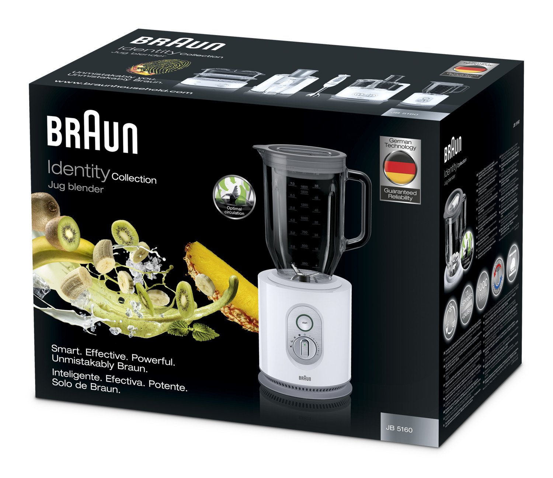 Braun JB5160WH - Batidora de vaso, 1000 w, jarra de cristal 2 l, control de velocidad electrónico, blanco: Amazon.es: Hogar