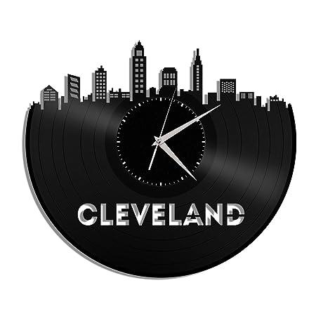 VinylShopUS – Cleveland Ohio Vinyl Wall Clock Cityscape Personalized Decor