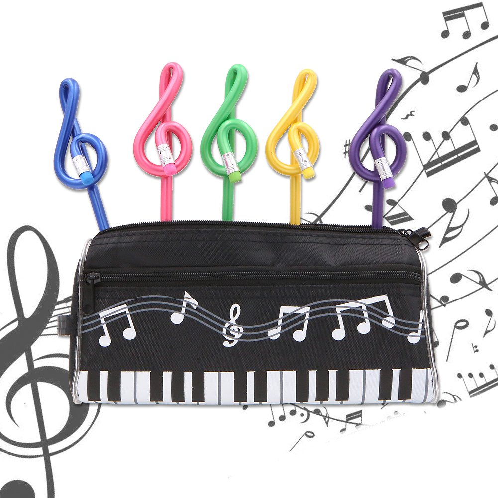 Music Notes Theme Stationery Set 8 Pieces Include 1 Piano Pattern Pen Case 1 Note Notebook 1 Eraser 5 Pencils for for Students Kids Study Gift