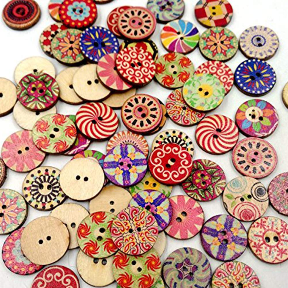 Book DIY Sewing Craft Button Clothing Decoration 20mm DIY Tools DierCosy 100Pcs Round Decorative Wooden Button Mixed Wooden Assorted Button Sewing Scrap