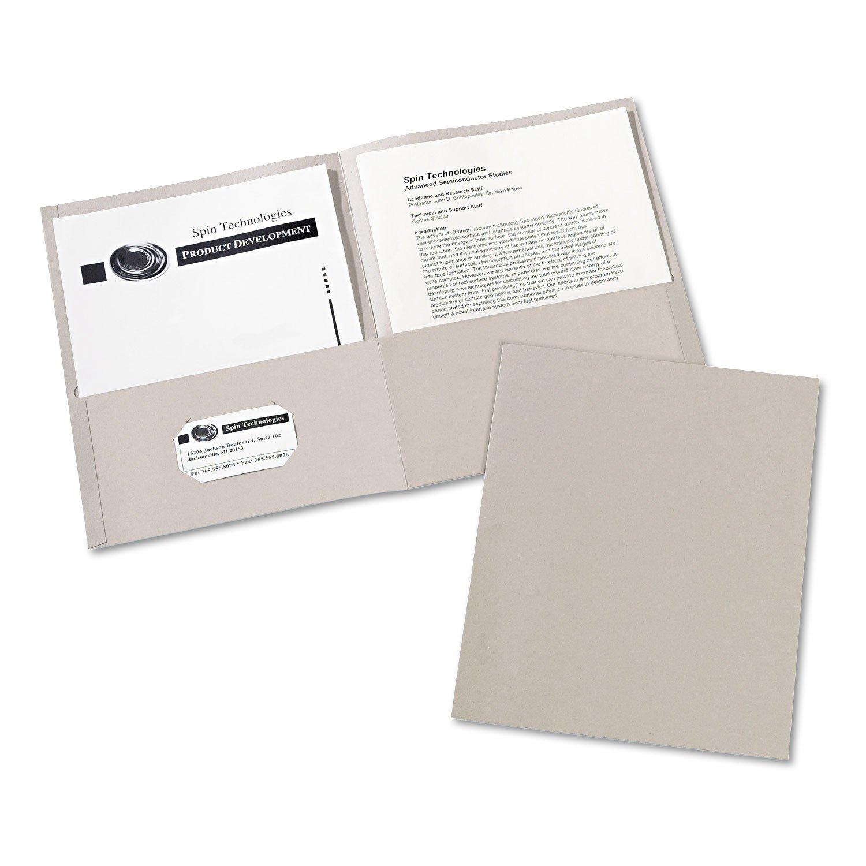 Two-Pocket Folder, 20-Sheet Capacity, Gray, 25/box