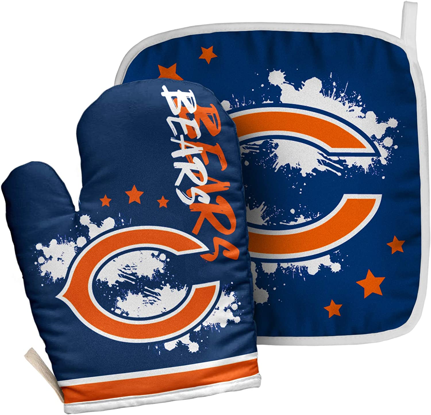 ZEWLLY Football Team Logo Oven Mitt and Pot Holder Set Heat Resistant Gloves for Cooking Grilling Baking
