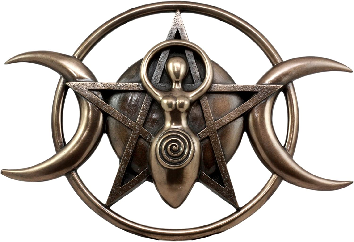 Ebros Neopagan Shaman Spiral Goddess Wall Decor Lunar Triple Goddess Wicca Wall Plaque Figurine Holy Trinity Wiccan Abstract 3D Art Sculpture