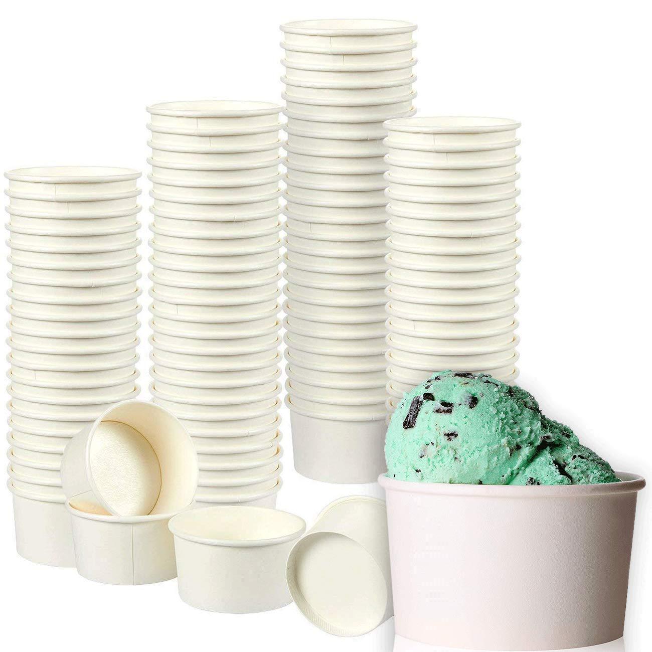 Juvale Ice Cream Sundae Cups - 100-Pack Disposable Paper Frozen Yogurt Dessert Bowls 8-Ounce, White