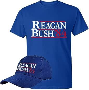 Reagan Bush '84 Shirt and Cap - 2 Pack - Retro Vintage Conservative Rebulican GOP Unisex Tshirt Potus