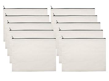 Amazon.com: 10 bolsas de maquillaje de lona blanca – bolsa ...