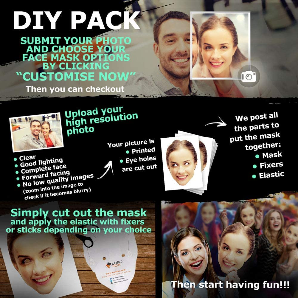 25 FULLY CUSTOM FACE MASK SETS ACESSORY FOR BIRTHDAY STAG HEN PARTY NIGHT OUT