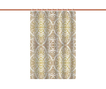 IPrint Decorative Shower Curtain Gold MandalaVictorian Mandala Motifs Curled Classical Ethnic Oriental Tile