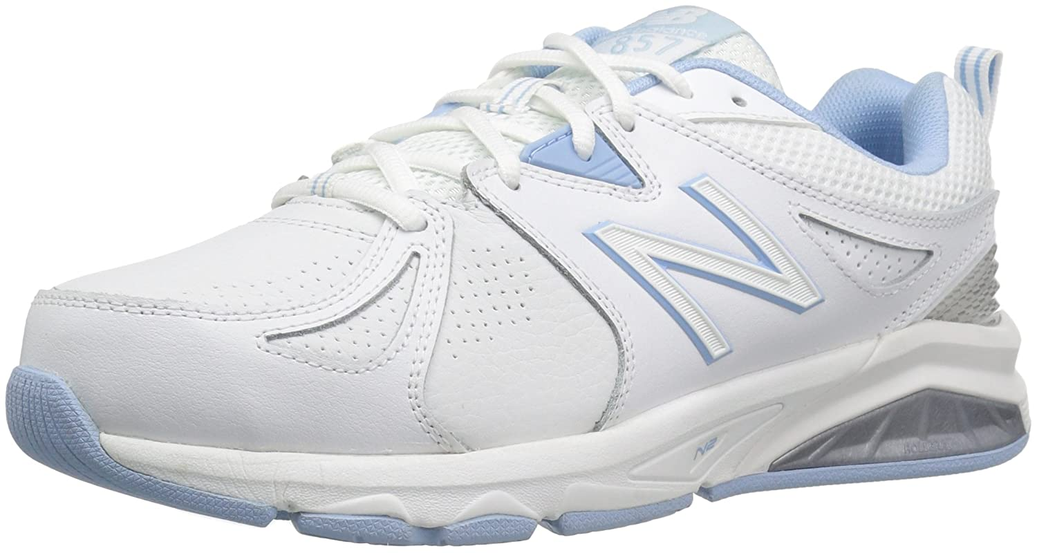 New Balance Women's wx857v2 Casual Comfort Training Shoe B01CQVZKPA 12 4E US,White/Blue