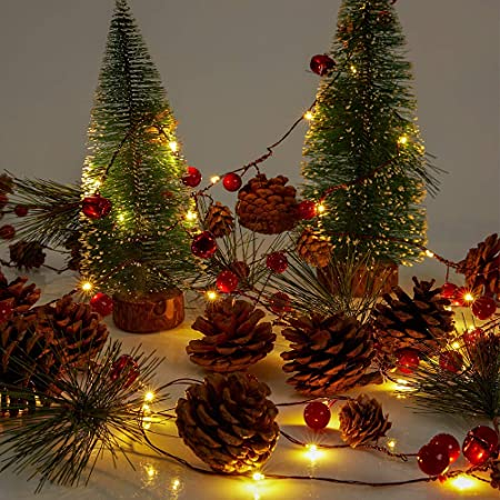 3/'//4/'//5/' LED Christmas Tree with Red Berries Pine Cones Home Party Outdoor Decor