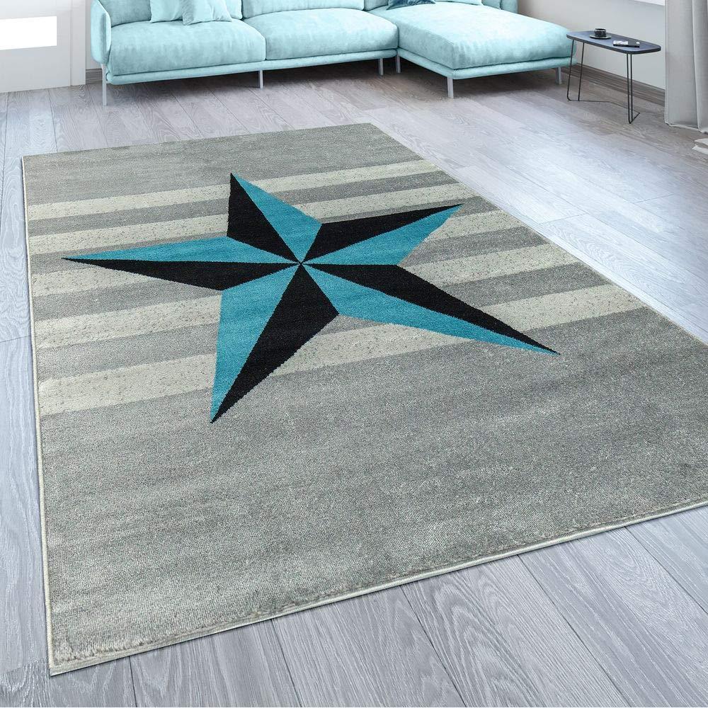Paco Home Designer Kurzflor Teppich Modern Streifen Stern Motiv In Grau Blau, Grösse 200x280 cm