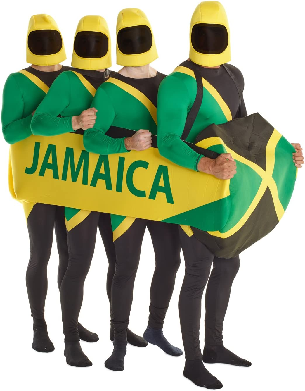 Adult Jamaican Bobsleigh Team 90s Bobsled Fancy Dress Costume Sport Stag M-XL