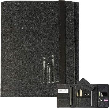 H/ülle f/ür iPad Multifunktionales Federm/äppchen Etui A5 aus Filz mit Stifte-Stickerei grau l Stifteetui Skizzenetui SkizzenIpad Kindle Farbe w/ählbar 27cmx20cm Ma/ße ca