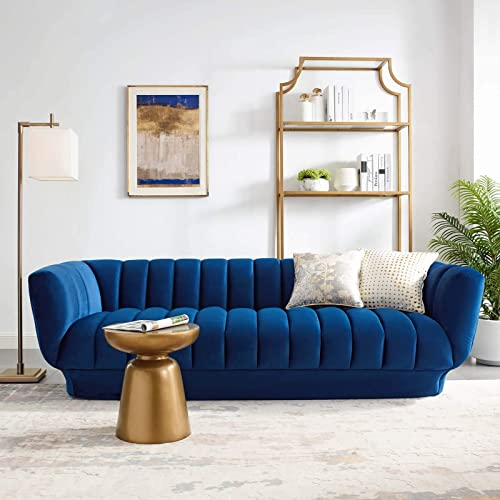 Modway Entertain Vertical Channel Tufted Performance Velvet Sofa Couch in Navy