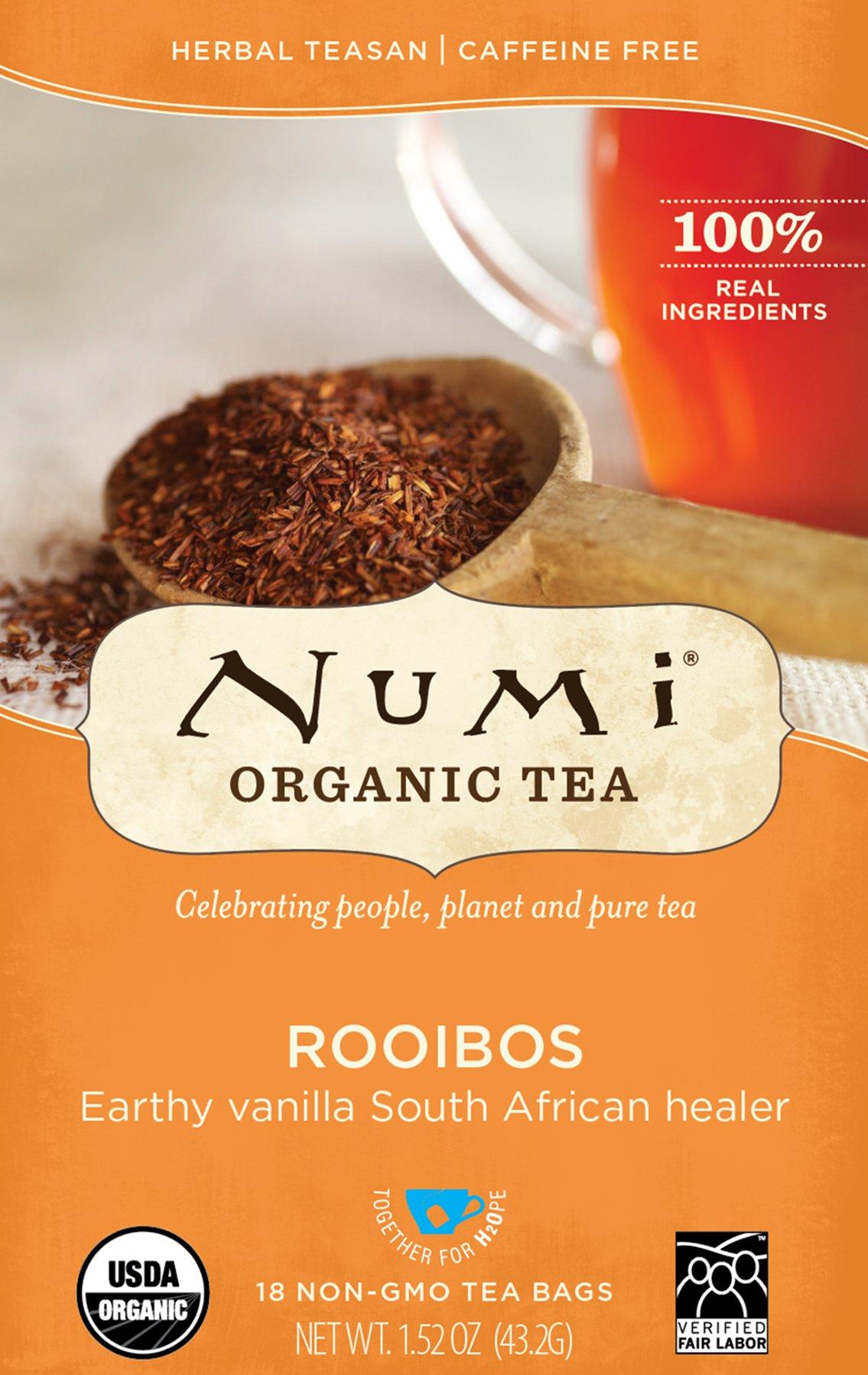 Numi Organic Tea Rooibos, 18 Count Box of Tea Bags (Pack of 6), Herbal Teasan