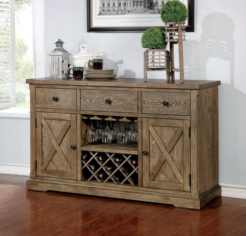 Furniture of America FA-CM3014SV Server, Light Oak