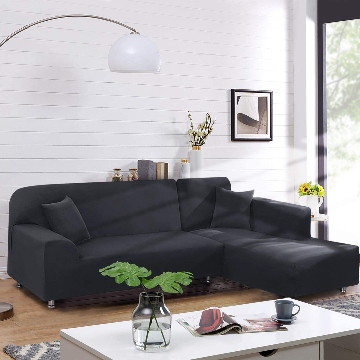 TAOCOCO Sectional Couch Covers 2pcs L-Shaped Sofa Covers Softness Furniture Slipcovers with 2pcs Pillowcases L-Type Polyester Fabric Stretch Sofa Covers 3 Seats +3 Seats (Lead Grey): Kitchen & Dining