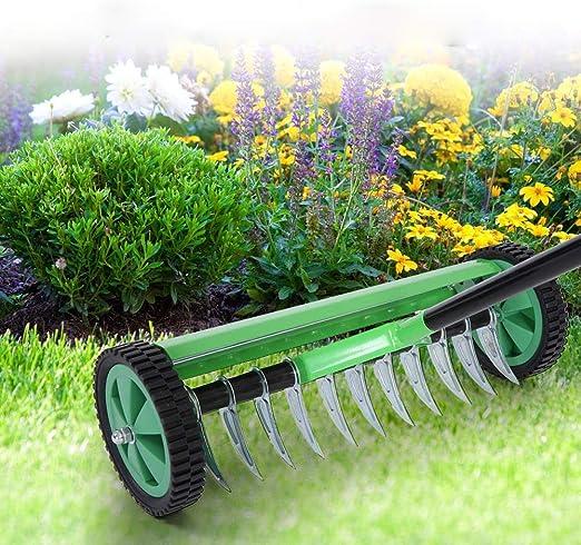 SOULONG aireadores de césped con Pinchos, Rodillo de Hierba Manual para Exteriores, aireador de césped de jardín con Mango Largo Tipo estaca de Acero Resistente para jardín: Amazon.es: Hogar