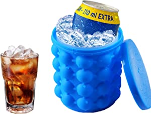 Ice Cube Tray, Silicone Ice Bucket with Lid, BPA Free, 2 in 1 Portable Ice Cube Maker, Ice Cube Mold Genie for Frozen Whiskey, Cocktail, Beverages, Blue