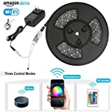 Nexlux Led light strip,Wifi Wireless Smart Phone Controlled Strip Light Kit 32.8ft 300leds 5050 Waterproof IP65 LED Lights,Working with Android and IOS System,Alexa,Google Assistant