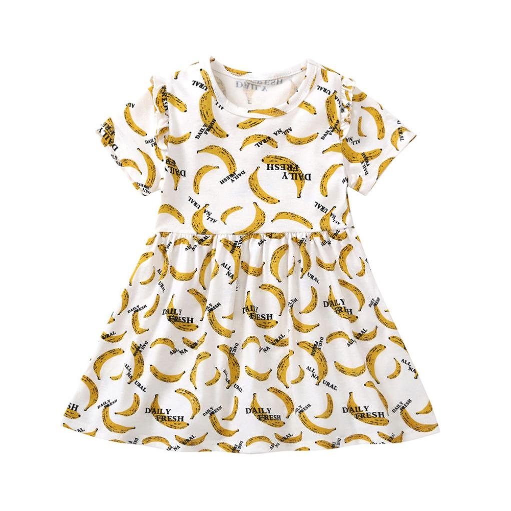 Vincent& July Baby Girls Pineapple Banana Print Dress Summer Sundress 1-5T
