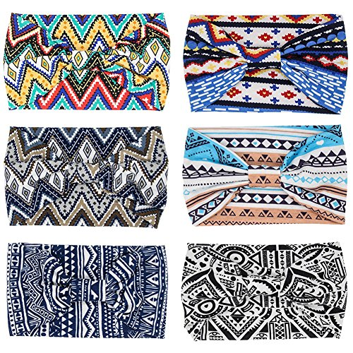 Carede Womens 5.5 Wide Bow Yoga Sport Headbands Performance Stretch & Moisture Wicking Boho Floral Hairband Knotted Headwrap Hair Accessories,Pack of 6