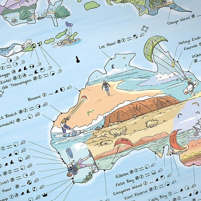 Carte Du Monde Kitesurf.Kitesurf Map Carte Du Monde Illustrees De Awesome Maps